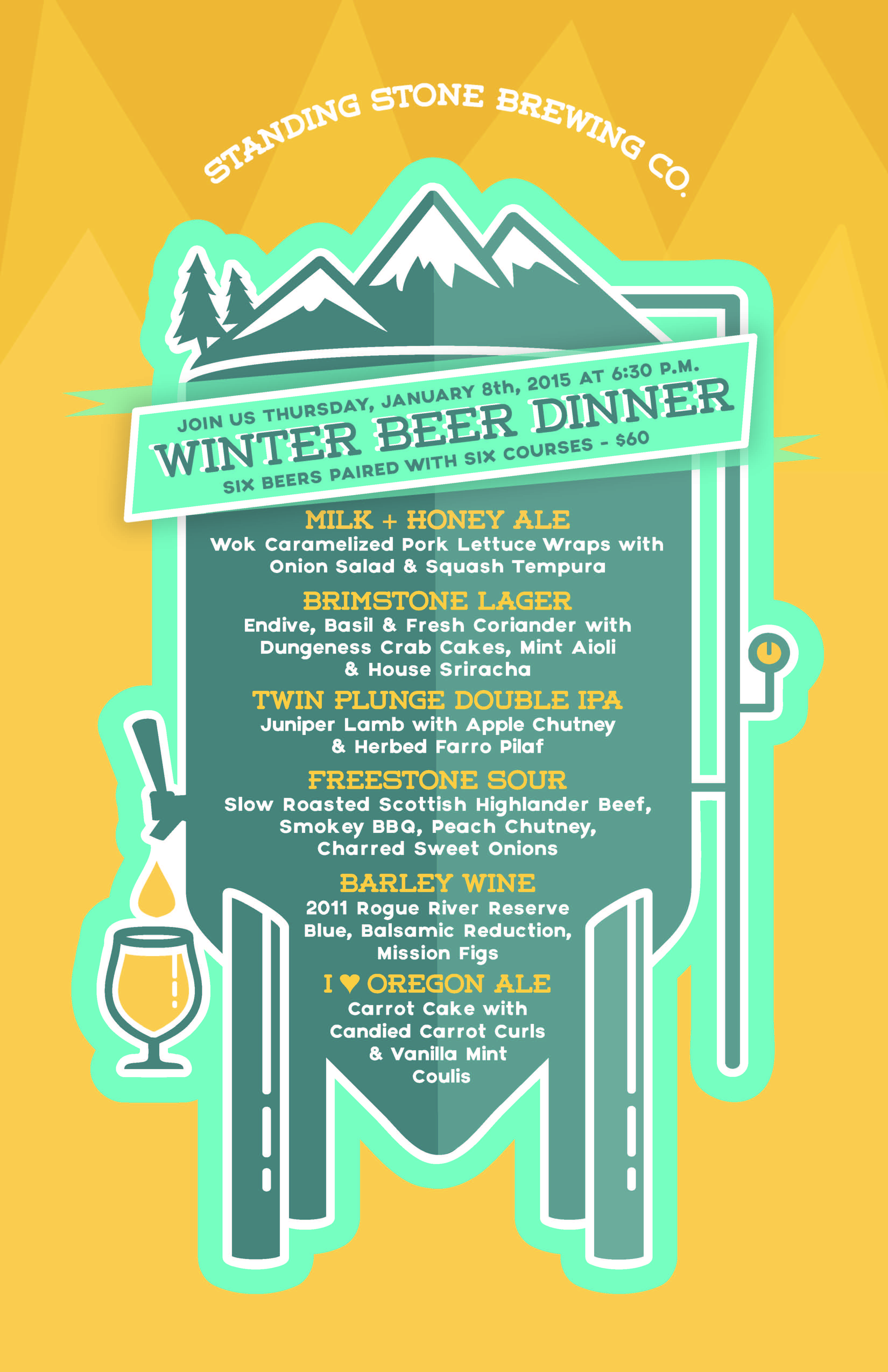2015 Beer Dinner Poster Standing Stone Brewing Company